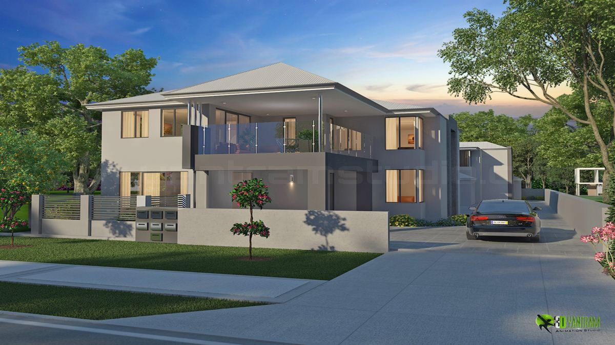 Modern Exterior 3D House Design Ideas by Yantram Architectural Studio