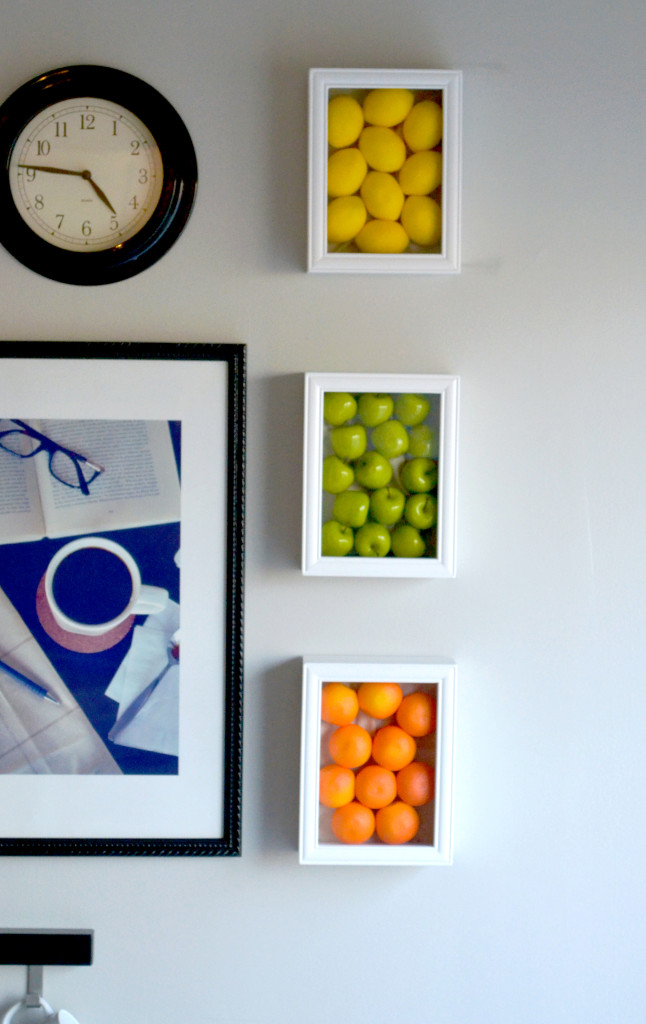 Colorful kitchen wall art with fake fruits for Kitchen colors with white cabinets with contemporary framed wall art