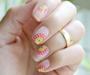 Colorful Summer Dotted Nails