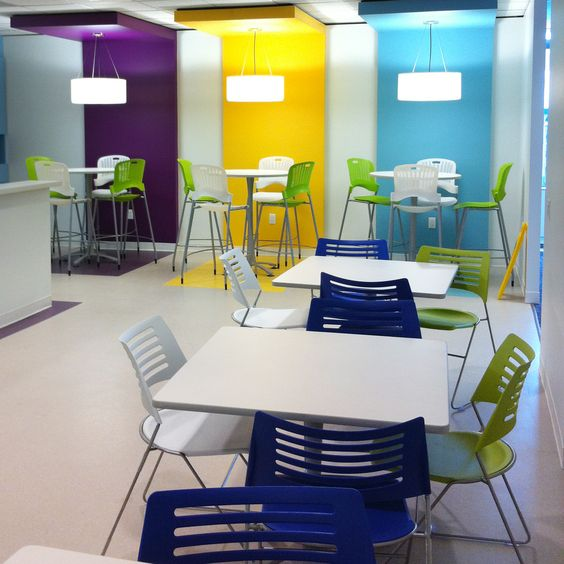 10 Creative Examples For Dividing Small Spaces: Colorful Workplace Eating Area With Pique Series Stack Chair