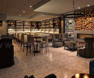 Commercial 3D Bar Interior Rendering Design View