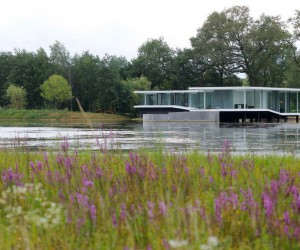 Concrete and Glass Residence Built on the Surface of a Lake