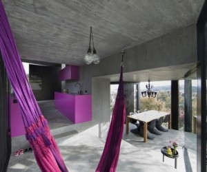Concrete ideas and contemporary purple interiors