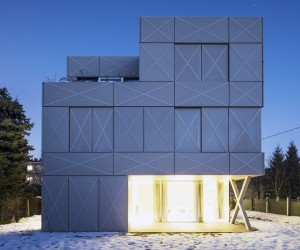 Contemporary home with perforated metal facade