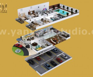 Contemporary Hotel style 3d interior floor plan design by architectural rendering company, Los Angeles  USA