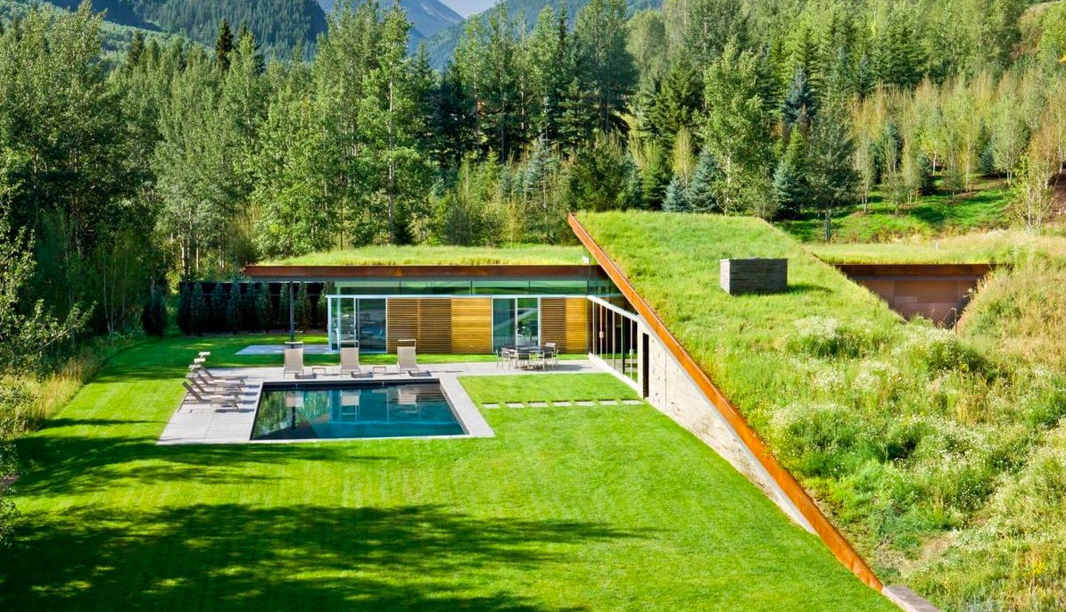 Contemporary house with green roof for Home and garden design center colorado springs