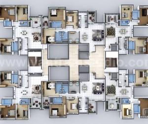 Creative 3D Home Floor Plan Design of Entire Apartment Floor Developed by Yantram Architectural Design Studio,  Melbourne - Australia