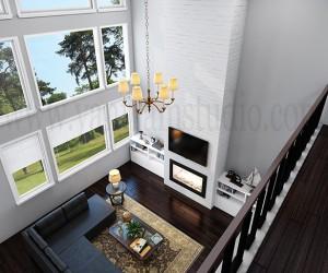 Creative Modern 3D Living Room Rendering