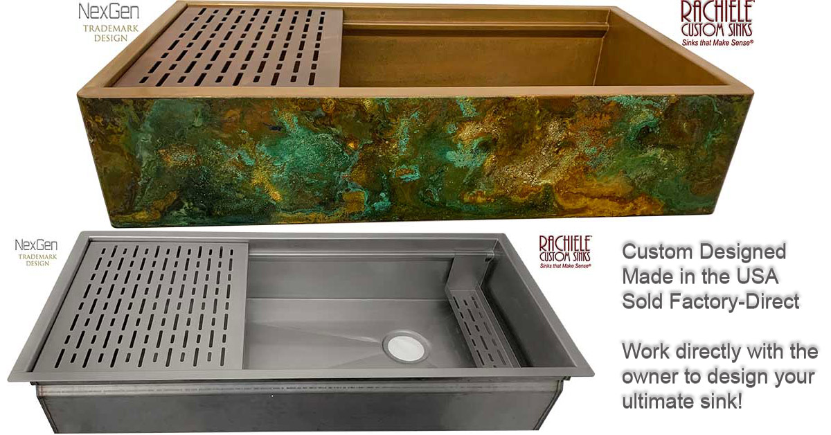 Custom hand crafted kitchen sinks made in the USA