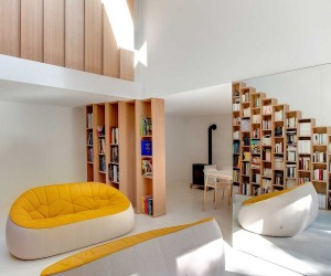 Custom stepped bookshelves Steal the Spotlight Inside this Posh Paris Home