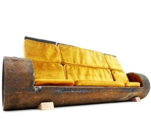 Cylindrical Cloche Sofa is made out of recycled sewage pipe