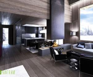 Dark Color Wooden Home Rendering