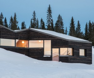 Dark Timber Cabin in Norways Gudbrandsdalen Valley