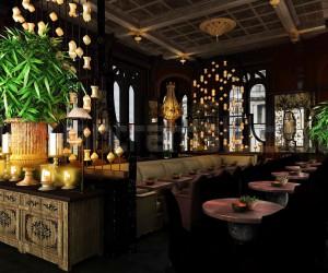Decorative Classic Restaurant Interior Night View