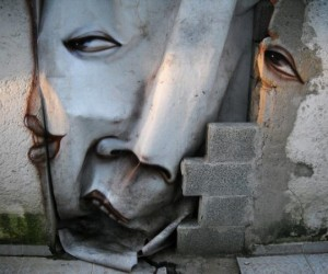 Distorted Painted Faces Throughout Streets of Brazil