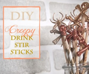 DIY Chic  Creepy Halloween Drink Stir Sticks