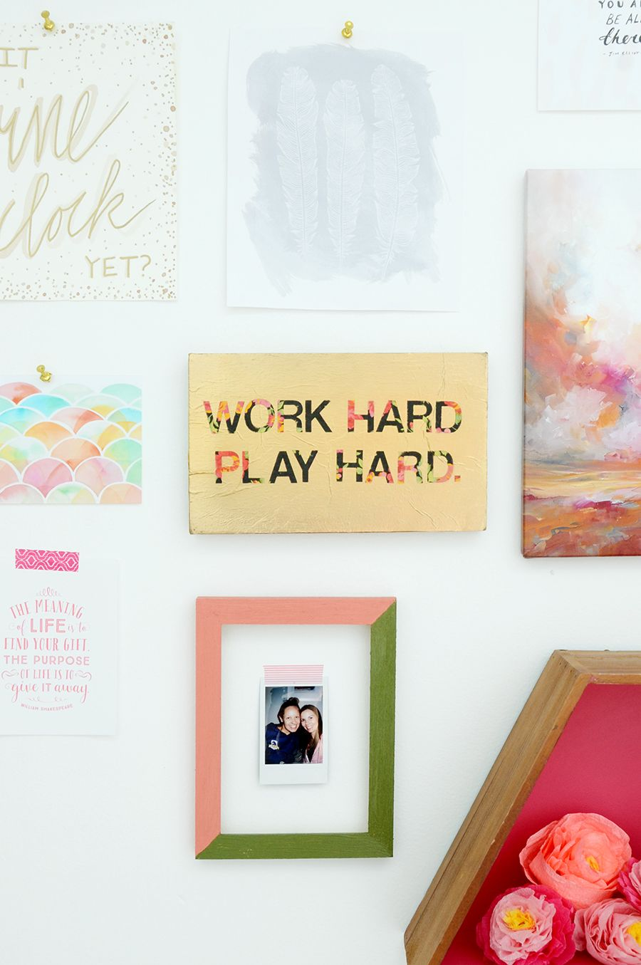 DIY Floral and Gold Quote Sign