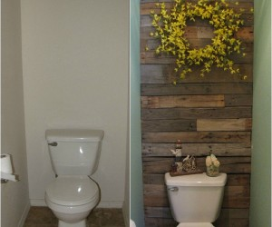 DIY Pallet Wall for the Free Toilet Room