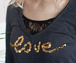 DIY Valentines love Sequin Shirt