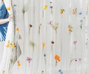 Draped Flowers Curtain by Akane Moriyama and Um Studio