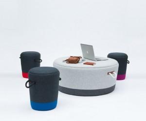 Duffel Stool: Drawstring Bag Inspired Stools