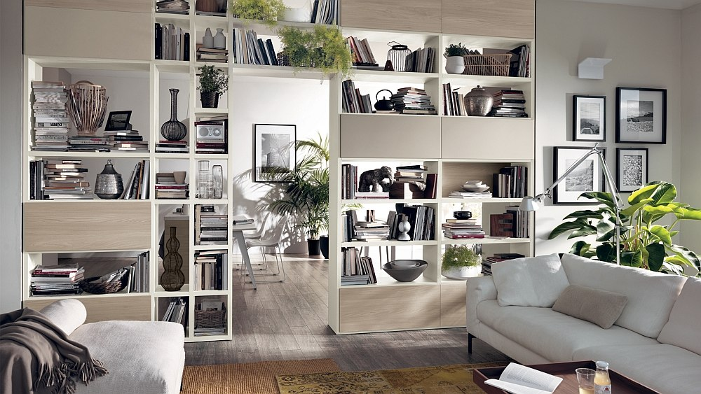 open shelving units living room.  Dynamic Living Room Compositions with Versatile Wall Unit Systems