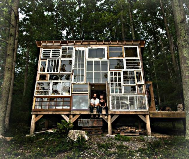 Eccentric eco window cabin in the mountains of virginia for Eco cabin designs