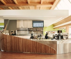 Elegant Timber Concession Stand Promoting Healthy Vegan Meals