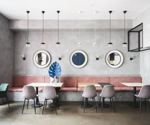 Exposed Concrete, Polished Pinks and Gentle Blues: Trendy Caf in Russia