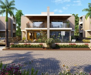 Exterior design rendering for residential modern bangalow