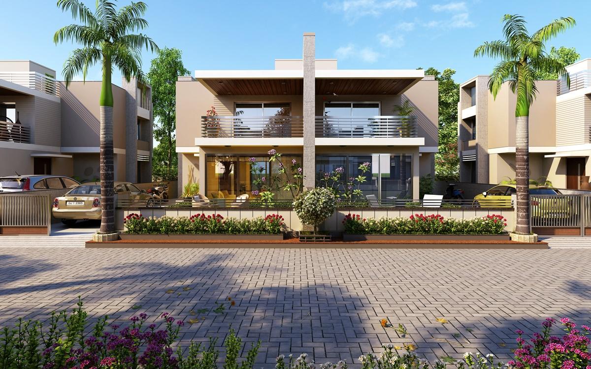 Exterior design rendering for residential modern bangalow for Residential exterior design