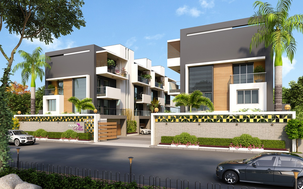 Exterior residential apartment cgi view design rendering for House design outside view