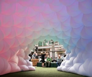 Fabric Prism Installation by Pneuhaus