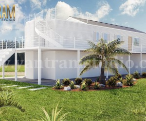 Fabulous White Vacation Home 3d exterior house designs  3d landscape concept by Architectural Visualisation Studio, Milan - Italy