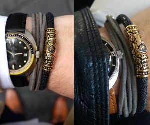 FACA 18k Gold Bracelet with Black Leather