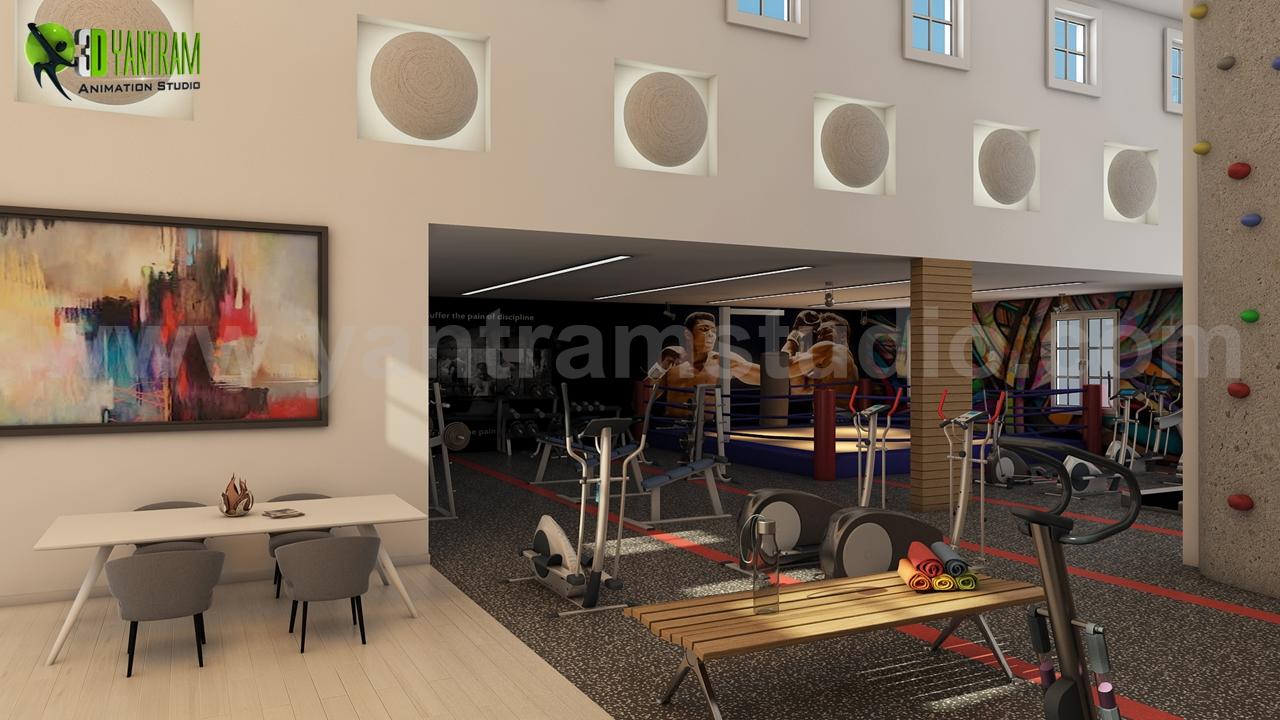 Fitness Gym Layout Design By Yantram 3d Interior Modeling Brisbane,  Australia