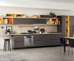 Foodshelf Fresh, Fluid Design Unites Living Room and Kitchen