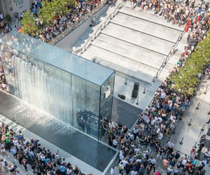 Foster  Partners Milan Apple Store Features a Dramatic Waterfall