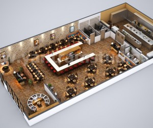 Fully Modern Bar 3D Floor Plan Design Ideas By Yantram architectural rendering studio Vancouver, Canada