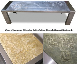 Furniture With Tabletops Of Imaginary Cities in Relief