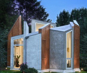 Futuristic Backyard Art Studio and Office Inspired by Butterflys Wings