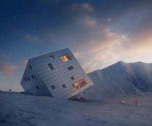 Futuristic Cuboidal Mountain Hut by Atelier 8000