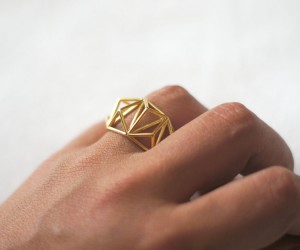 Geometric Prism Cage 3d Printed Ring- by Danimakes
