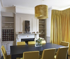 Glitter and Majestic Panache: Dining Rooms Wrapped in a Golden Glint