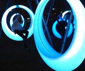 Glowing swings stimulate Boston park