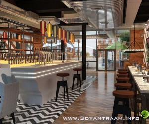 Gorgeous 3D Restaurant Bar Design View