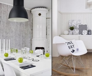 Black, White & Green | Cozy Apartment Decor