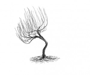 Handmade wire tree sculpture
