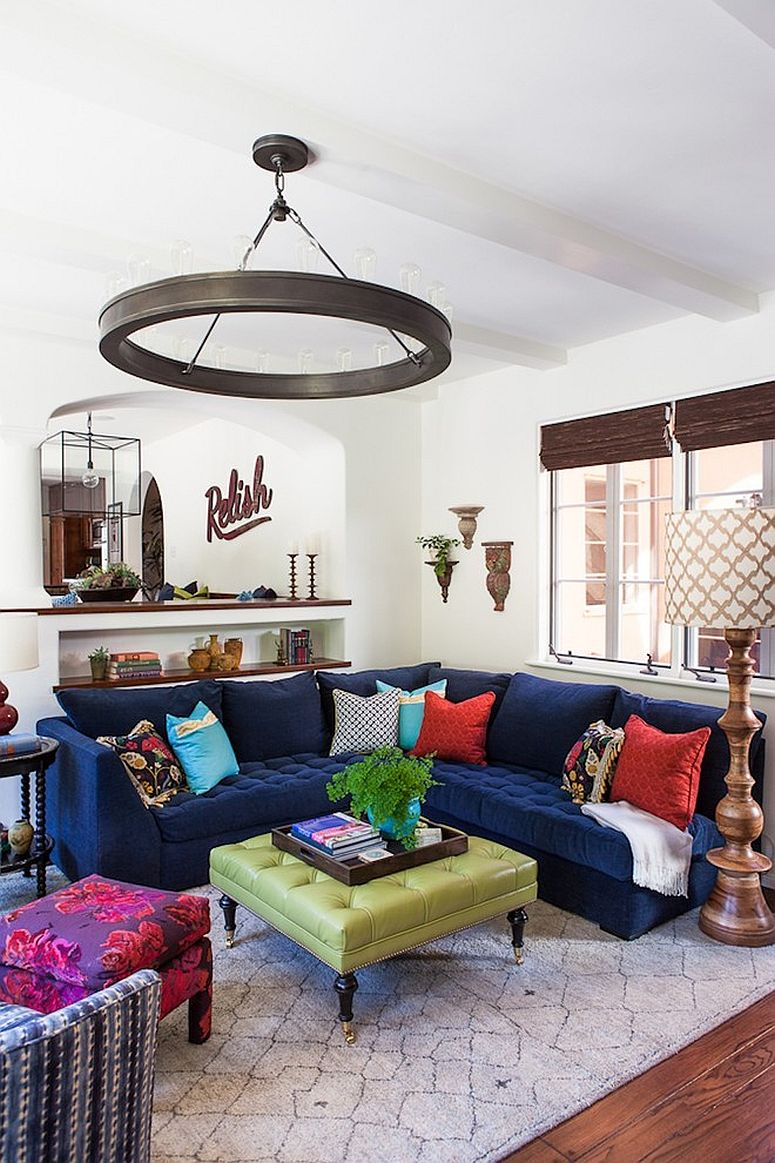 Hot fall and winter trend exquisite navy blue sofas for a trendy living room