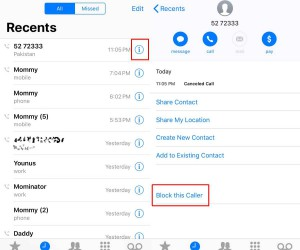 How to block an SMS with a name but no number on iOS